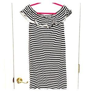 Kate Spade Ruffle shoulder BW stripe dress